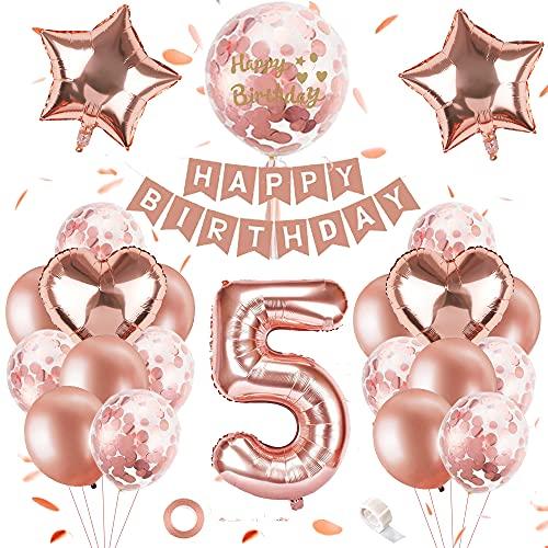 SPECOOL 5er Cumpleaños Globos Oro Rosa Niñas, Feliz Cumpleaños Decoración 5 Años, Oro Rosa Metalizado Decoración Globos con Banner, Globos de Confeti y Globos de Aluminio