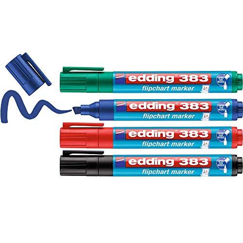 edding 383 Flipchart-Marker - 4er-Set - schwarz, rot, blau, grün - Keilspitze 1-5 mm - Stift zum Schreiben, Zeichnen und Markieren auf Flipcharts - Tinte schlägt nicht durch Papier -trocknet nicht aus