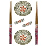 Hogar y Mas Sushi Kit Completo Y Accesorios, Ideal para Comida Asiática. Cuencos Soja, Platos de Sushi. (B Rojo)