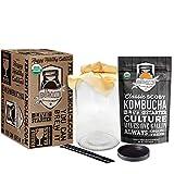 Kombucha Essentials Kit - Organic SCOBY (Starter Culture) + 1-Gallon Glass Fermenting Jar