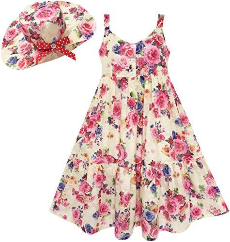 Mädchen Kleid Voll Länge Blume Drucken Mit Hut Blume Rosa Gr.134