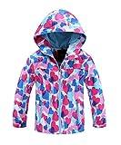 M2C Girls Outdoor Patterned Fleece Lined Light Windproof Jacket with Hood 4/5 Blue