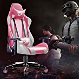 RuiDun Gaming Chair Office Chair Racing Chair High-Back Chair PU Leather Chair Ergonomic Adjustable Seat with Headrest and Lumbar Support (Pink/White)