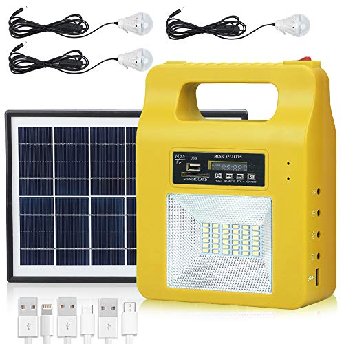 Portable Solar Generator Lighting Kit - 12000mAh Solar Powered Electric Generator System with Solar Panels 3 LED Lamps for Outdoor Camping Home Emergency Backup Power Supply Hurricane