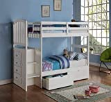 Donco Kids Arch Mission Stairway Bunk Bed withTrundle, Twin/Twin, White