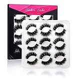 Leipple 5D Mink Lashes - 9 Pairs Professional Handmade Fake Eyelashes - Natural Reusable Thick Fluffy False Eyelashes Faux Mink Eyelashes (5DZ06C)