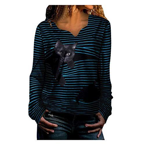 Yowablo Tshirt Oberteile Damen Sportshirt Kurzarm Sport Vintage Sweatshirt Rundhals Top Lang T-Shirt Top Bluse Frauen Casual V-Ausschnitt Tierstreifen Langarm Print ( L,2Blau )