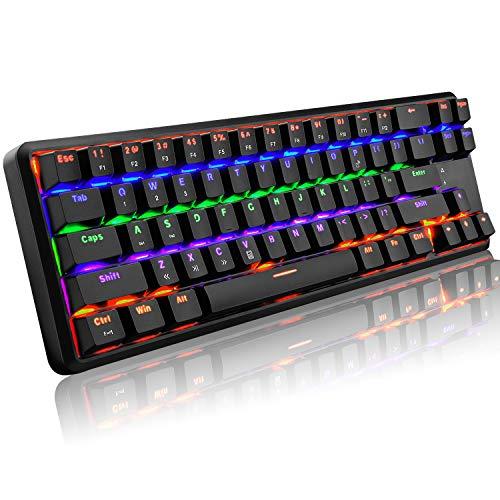 AK68 Aggiornato Ricaricabile Wired/Wireless Bluetooth Dual-mode 60% Tastiera da gioco meccanica Compatta 68 tasti Tipo C Tasti anti-ghosting retroilluminati a LED (Interruttore nero/blu)