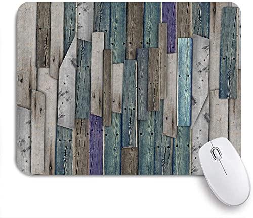 XWJZXS Mauspad,Rustikales Bild von blau grau Grunge Holzplanken Scheune Haus Türnägel Landleben Thema druckenfür Büro zu Hause und Spiel Mousepad Computer & PC rutschfest