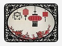 Ambesonne ランタン バスマット 日本の桜の木と提灯 円形装飾グラフィック 豪華なバスルーム装飾マット 滑り止め裏地 29.5インチ X 17.5インチ レッド ベージュ