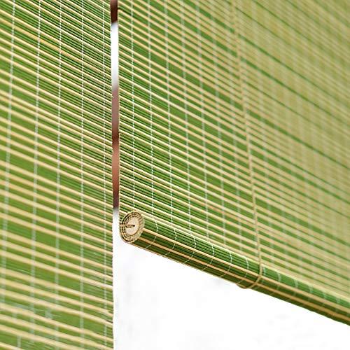 Persianas enrollables y estores Persianas Enrollables De Bambú Para Exteriores, Persianas Oscuras Verdes Con Gancho Para Terraza De Pérgola, Fáciles De Fijar, 65/85/105/125/135 Cm De A(Size:105×180cm)