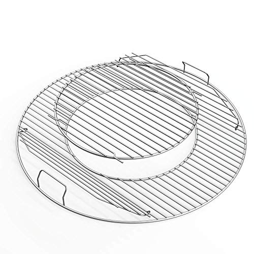 Uniflasy 8835 Hinged Cooking Grate for Weber 22.5 Inch One-Touch Silver Bar-B-Kettle Master-Touch Performer and Other 22.5' Charcoal Grill 21.5 Inch Diameter Gourmet BBQ System Grill Grate