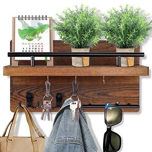 OurWarm Organizer da parete con mensola, portachiavi con ripiano in legno, appendiabiti da parete con etichetta e 5 portachiavi da parete per ingresso, soggiorno, cucina, 12,6' x 7' x 5'