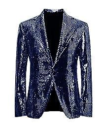 Navy Blue/C Splendid Sequins Lapel Tuxedo Jacket