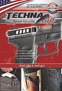 Techna Clip Conceal Carry Gun Belt Clips for Beretta, Diamondback, Glock, Kahr, Kel-Tec, Kimber, Ruger, Sig Sauer, Smith & Wesson, Springfield, Taurus, 1911