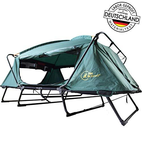 Plan Re feldzelt+ 2 Personen Feldbett mit Zelt auf Beinen Festival-Zelt Angelzelt 100% Regendicht durch doppelte Außenhaut Mückensicher durch Fliegengitter Eingebaute Isomatte 210x120cm