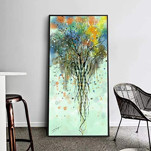 Pintura al óleo nórdica abstracto colorido árbol rico cartel lienzo pintura pared cuadros para sala de estar decoración del hogar