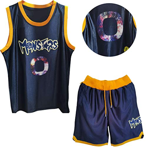 #0 Alien Monstars Space Jam Basketballtrikots,Ärmellose Rundhalsausschnitt 2-teilige Unisex Movie Sportswear Gym Atmungsaktives Netz Schnelltrocknende Top-Shortsets-Blue-S