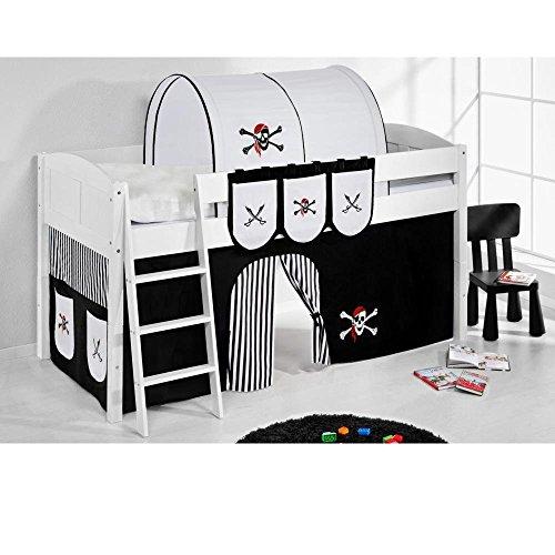 Lilokids Spielbett IDA 4106 Pirat Schwarz Teilbares Systemhochbett weiß-mit Rutsche und Vorhang Kinderbett, Holz, 208 x 220 x 113 cm