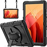 Samsung Galaxy Tab A7 Case 2020 SM-T500/T505/T507 with Screen Protector for Kids | Blosomeet Full Body Shockproof Cover for 10.4 Inch Tab A7 w/ S Pen Holder Stand Hand Strap Shoulder Strap | Black