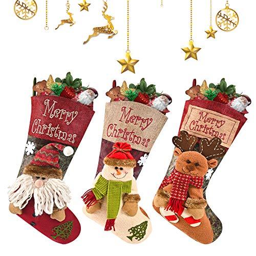 AmzKoi Calze Natalizie 3, Grandi Calze Natalizie per Albero Decorazione Personalizzate per Bambini/Adulti 3 Confezione di Calze Natalizie con Babbo Natale, Pupazzo di Neve e Renna