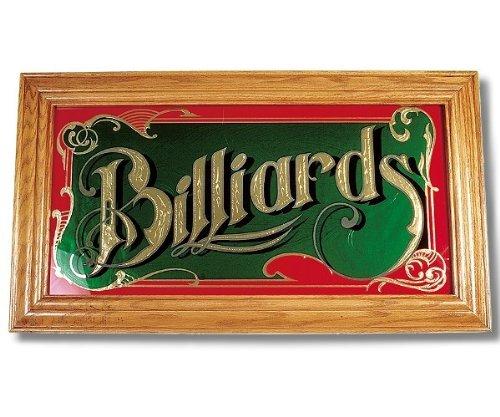 Spiegel Billiard met echt houten frame in eiken grootte 71 x 40 cm