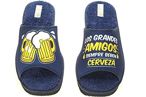 NLS 108-135 Zapatilla Descalza Destalonada Chancla para IR por Casa de Toalla Cervezas para Hombre Marino Talla 43
