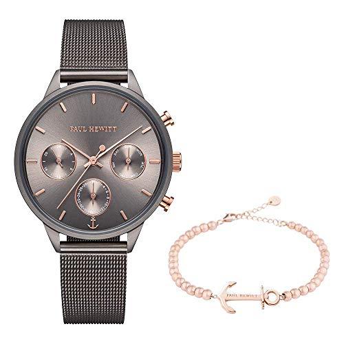 PAUL HEWITT Set Armbanduhr Damen Everpuls Grey Metallic und Armkette Anchor Spirit Roségold Steel - Perfekt aufeinander abgestimmte Accessoires in einem Geschenkset