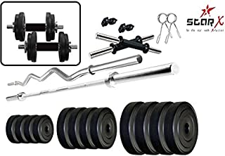 StarX Home Gym Exercise Set of 40 Kg PVC Weights with 2 Dumbbell Rods, 5 ft Straight Rod and 3 ft Curl Rod