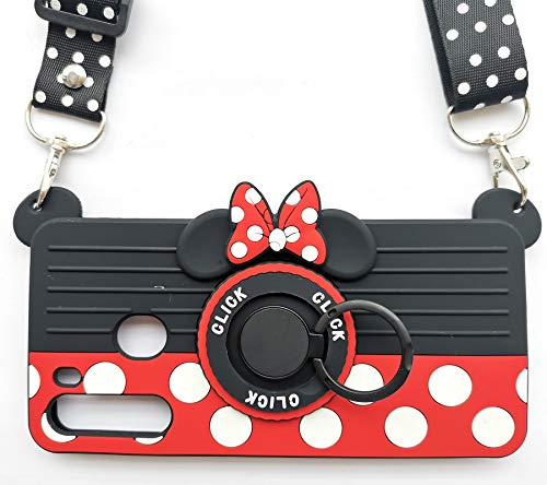 for Samsung Galaxy A21 Case 3D Cute Soft Silicone Cartoon Minnie Mouse Camera Design Phone Case for Women/Girl/Friends Classmate Best Birthday Gift(6.5in)