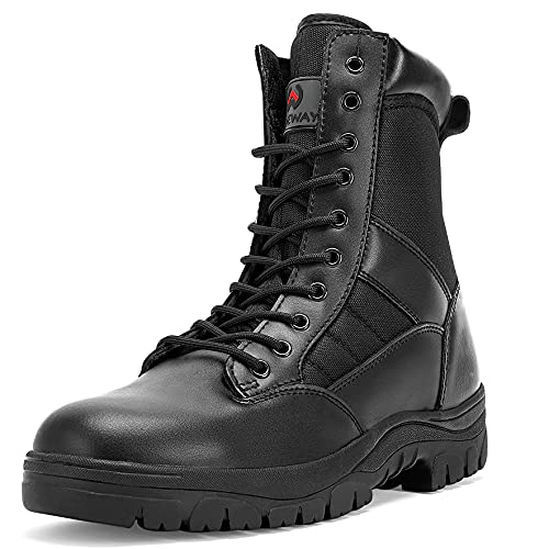 WIDEWAY Men's 8 Inches Military Tactical Work Boots Side...