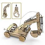 Juego de juguetes de madera 3D, con sistema de presión de aire, modelo de excavadora de madera, incluye 3 agarres intercambiables y digitalizador para niños y adultos