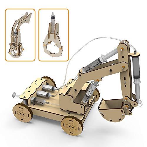 3D Puzzle Hölzernes Konstruktion Bagger Fahrzeug Spielzeugset,knobelspiele Bausatz Kit mit Luftdrucksystem EIN Holzbaggermodell zu Bauen,Inklusive 3 austauschbaren Greifern&Digger,Kinder,Erwachsene