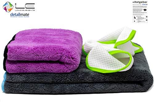 detailmate Set - Liquid Elements Silverback XL Trocknungstuch 80x50cm, 1200GSM + Purple Monster, Finishtuch 40x40cm, 1800GSM + Streak Buster - Scheibenreinigungstuch, 35x35cm, 400 GSM + Ratgeber