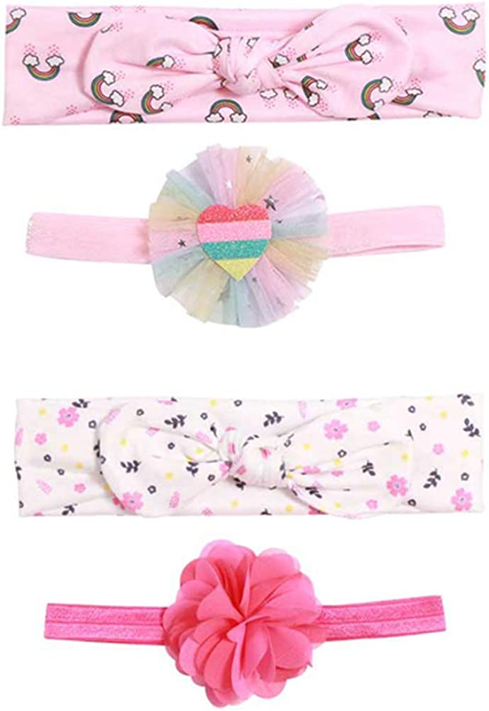 Baby Girl Cotton Headbands Floral Elastic Headband Hair Bands and Bows for Newborn Toddler Hair Accessories,4 Pcs