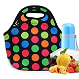 LOVAC Lunch Bag for Women,Reusable Lunch Tote,Durable and Waterproof Neoprene Lunch Bags,Insulated Soft and Lightweight (Colorful Dot)