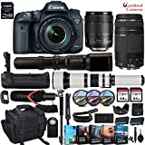 Canon EOS 7D Mark II DSLR w/Wi-Fi Adapter + EF-S 18-135mm USM & EF 75-300mm III + 500mm & 650-1300mm Preset Lens with Battery Grip + Canon Wrist Band & Exclusive Editing Software + Accessory Bundle