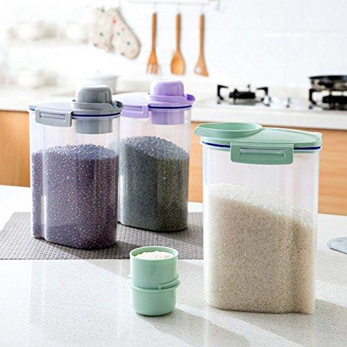 AsentechUK® - Boîte de conservation alimentaire transparente et hermétique pour aliments et céréales, Plastique, Green, 15 x 27cm