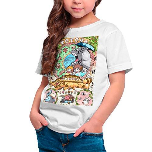 Camiseta Cine Animación Niña - Unisex Mi Vecino Totoro, Studio Ghibli (Blanco, 11 años)