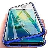 Hülle für Xiaomi Redmi Note 8T Handyhülle 360 Grad Komplettschutz Magnetische Adsorption Ultra dünn Metallrahmen Schutzhülle Vorne & Hinten Transparent Gehärtetem Glas Schutz Flip Cover,Blau