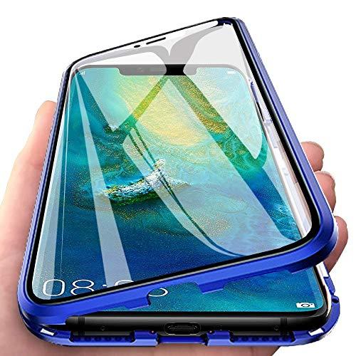 Coque pour Huawei P30 Lite(6,15 pouces) Flip Cover Housse Magnétique Adsorption Métal Bumper Frame en Transparent Avant et Arrière Verre Trempé Ultra Slim 360 Degrés Complet Protection Cover,Bleu