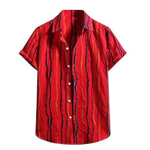 YSYOkow Camisa de lino para hombre con botones de manga corta para entrenamiento, ajuste holgado, cuello de bandas