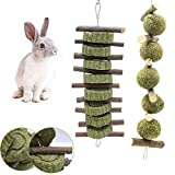 Bunny Chew Toys, 2PCS Rabbit Hamster Chew Toys with Apple Wood Sticks Natural Grass Cake and Grass Ball, Teeth Grinding Toy for Bunny Hamster Parrot Chinchillas Guinea Pig Gerbils Rats Chewing Playing