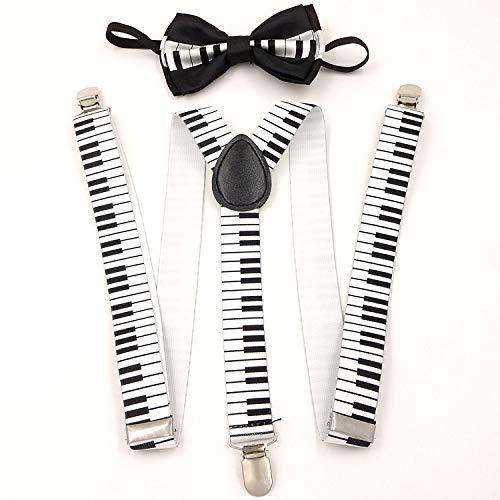 SUPOOGO Women'S verstelbare witte stip terug lood knoop pak grote kinderen Suspenders met straat mode 3 clip gesp riem