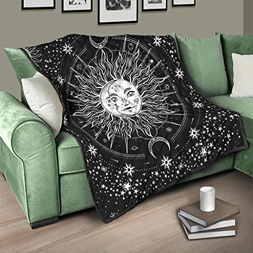 Flowerhome Colcha para sofá o cama, diseño de sol, luna y estrellas, color blanco, 200 x 230 cm