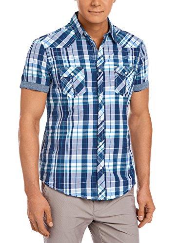 oodji Ultra Uomo Camicia in Cotone con Risvolto Decorativo sulle Maniche, Blu, 44-46