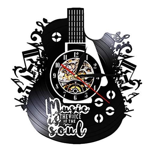 VOSAREA Disco Orologio da Parete Chitarra Design Vinile Musica Orologio da Parete per Arredamento Camera Rock Band Musica lp Regali (Senza Lampada)