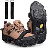SILANON Ice Cleats Snow Traction Cleat Crampons- 24 Teeth Ice Grippers for Shoes Boots Men Women Anti-Slip Ice Shoes Stretch Footwear for Hiking Walking Ice Fishing M