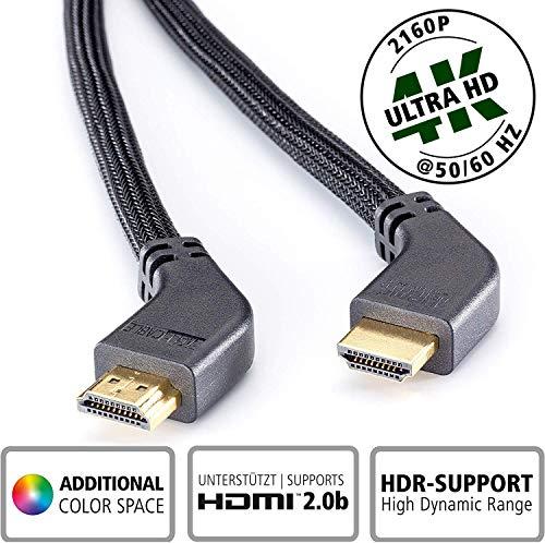 inakustik - 10011032 - Deluxe High Speed HDMI 2.0b Kabel mit Ethernet | Mit gewinkelten Steckern für platzsparenden Anschluss | 3,2m in Schwarz | 2160p - ARC - HD Audio| mit Geflechtschirm