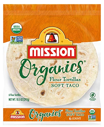 Mission Organics Flour Tortillas, Non GMO, Trans Fat Free, Medium Soft Taco Size, 6 Count